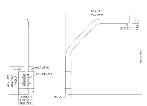 DH-PFB303S - Wymiary uchwytu podane w mm (cale).
