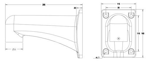 DH-PFB303W - Wymiary uchwytu w milimetrach.