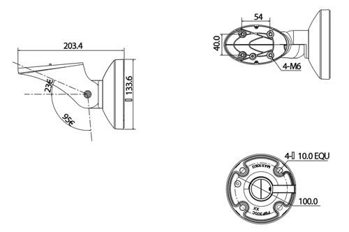 DH-PFB601W - Wymiary uchwytu do kamer (mm).