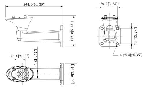 DH-PFB604W - Wymiary uchwytu do obudowy Dahua (mm [cale]).