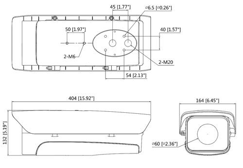 DH-PFH610V-H-POE - Wymiary obudowy w mm (calach).