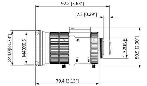 DH-PFL0550-E6D - Wymiary obiektywu Dahua.