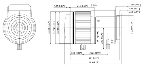 Wymiary obiektywu do kamer IP (mm [cale]).