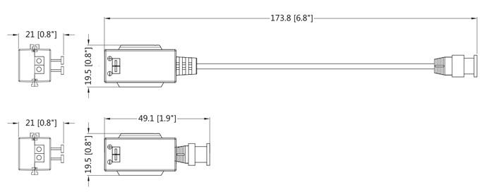 Wymiary transmiterów wideo Dahua (mm[cale]).