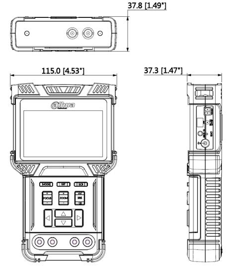 DH-PFM900-E - Wymiary miernika Dahua (mm [cale]).