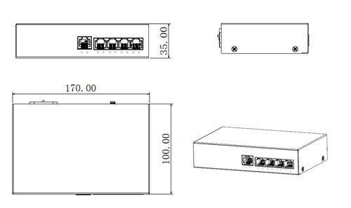 Wymiary switcha PoE Dahua podane w milimetrach.