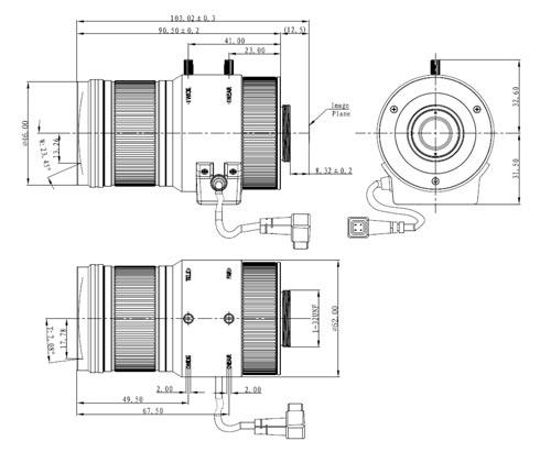 DH-PLZ21C0-D - Wymiary obiektywy Dahua (mm).