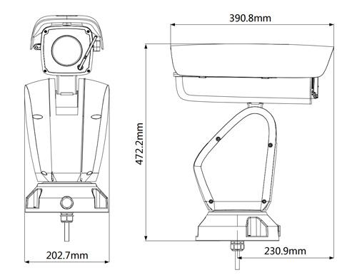 DH-PTZ12240-IRB-N - Wymiary kamery megapikselowej (mm).