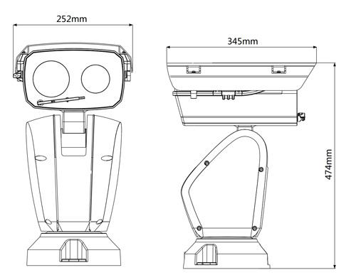 DH-PTZ12248V-LR8-N - Wymiary kamery megapikselowej (mm).