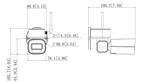 Wymiary kamery Bullet PTZ Lite (mm).