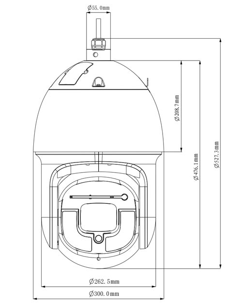 DH-SD10A248V-HNI - Wymiary kamery megapikselowej (mm).