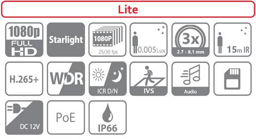 DH-SD1A203T-GN - Ikonki specyfikacji kamery IP.