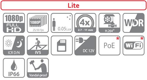 DH-SD22204T-GN / DH-SD22204T-GN-W - Ikonki specyfikacji kamery IP PTZ.