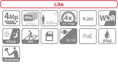 DH-SD22404T-GN - Ikonki specyfikacji kamery IP PTZ.