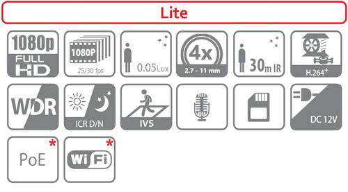 DH-SD29204T-GN / DH-SD29204T-GN-W - Ikonki specyfikacji kamery IP PTZ.