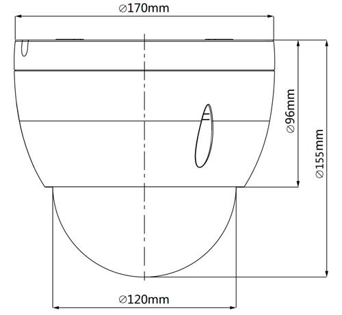 DH-SD42212T-HN - Wymiary kamery obrotowej IP Dahua.