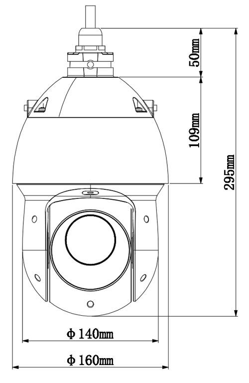 DH-SD49225I-HC - Wymiary kamery Analog HD.