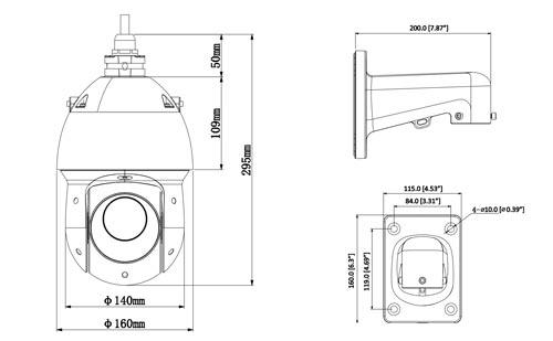 DH-SD49225T-HN - Wymiary kamery obrotowej Dahua.
