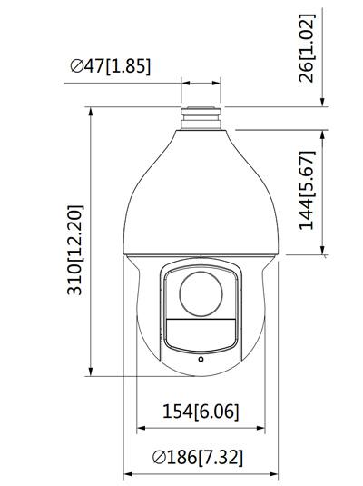 Wymiary kamery 4w1 PTZ Dahua podane w milimetrach i calach.