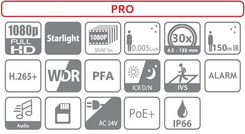 DH-SD59230U-HNI - Ikonki specyfikacji kamery IP.