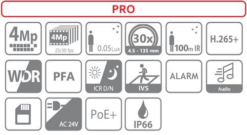 DH-SD59430U-HNI - Ikonki specyfikacji kamery IP.