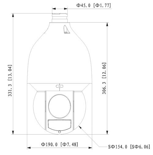 Wymiary kamery IP obrotowej Dahua podane w milimetrach i calach.