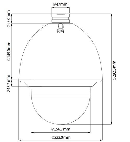 DH-SD60430U-HNI - Wymiary kamery megapikselowej (mm [cale]).