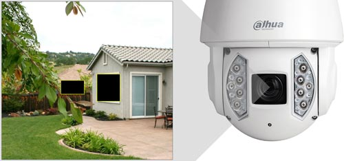 DH-SD6AE240V-HNI - Przykład zastosowania funkcji stref prywatności.