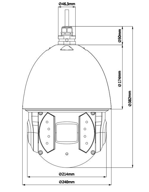 DH-SD6AE530U-HNI - Wymiary kamery megapikselowej (mm).