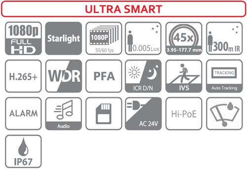 DH-SD6AL245U-HNI-IR - Ikonki specyfikacji kamery IP.