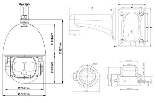 DH-SD6AL245U-HNI - Wymiary kamery megapikselowej.