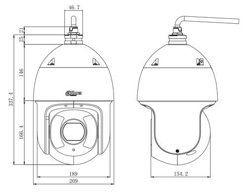 Wymiary kamery IP Dahua podane w milimetrach.