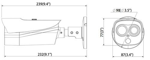 DH-TPC-BF2120-1F4 / DH-TPC-BF2120-T1F4 - Wymiary kamery IP termowizyjnej (mm [cale]).