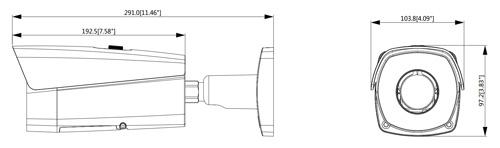 Wymiary kamery IP termowizyjnej (mm [cale]).
