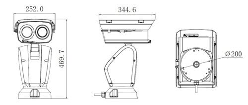Wymiary kamery termowizyjnej (mm).