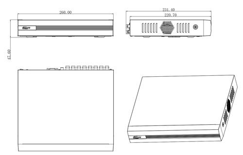 DH-XVR1B16 - Wymiary rejestratora (mm).