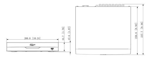 Wymiary rejestratora XVR Dahua w milimetrach i calach.