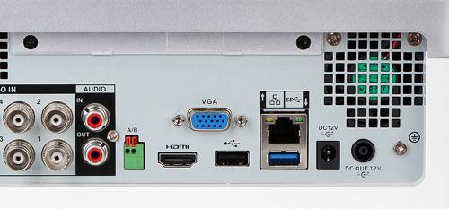 DH-XVR7104E-4KL-X - Złącza podłączeniowe w rejestratorze.