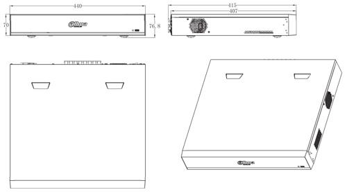 DH-XVR7416L-4KL-X - wymiary rejestratora.