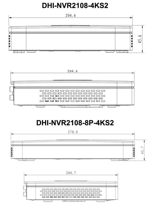 NVR2108-4KS2 / NVR2108-8P-4KS2 - Wymiary rejestratora sieciowego (mm).