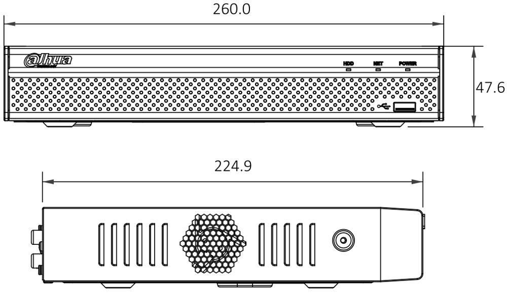 NVR2108HS-4KS2 / NVR2108HS-8P-4KS2 - Wymiary rejestratora sieciowego Dahua.