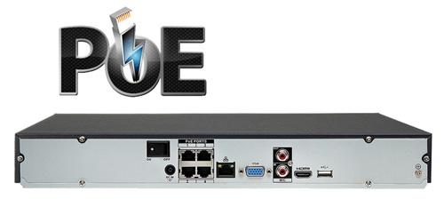 Wbudowany switch PoE w rejestratorze NVR.