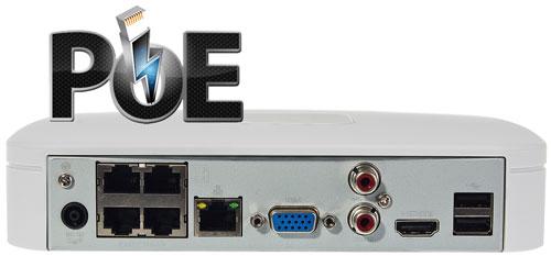 Wbudowany 4 portowy switch PoE w rejestratorze NVR.