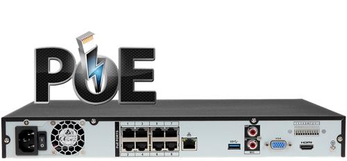 DHI-NVR4208-8P-4KS2 - Wbudowany switch PoE w rejestratorze NVR.