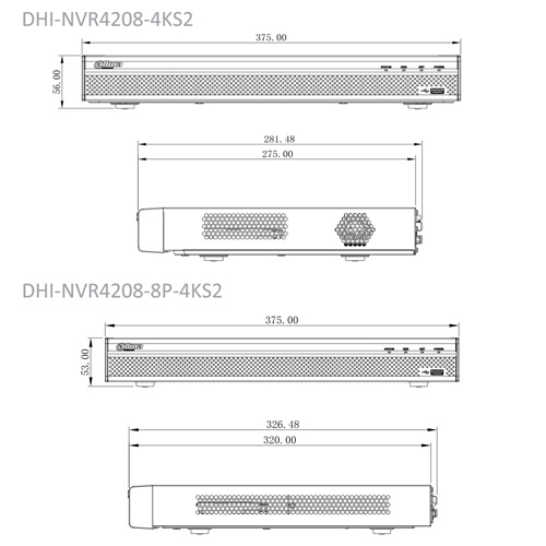 DHI-NVR4208-4KS2 / DHI-NVR4208-8P-4KS2 - Wymiary rejestratora sieciowego (mm).