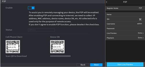 Bezpośredni dostęp do rejestratora - P2P.