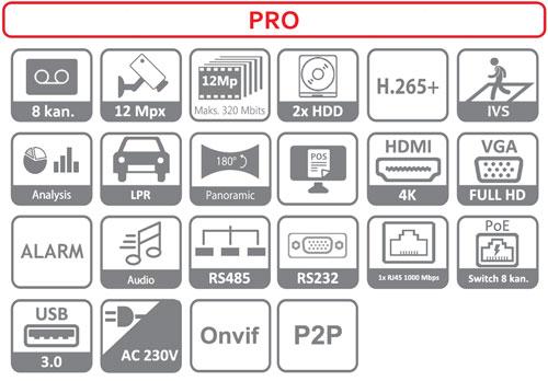 DHI-NVR5208-8P-4KS2 - Ikonki specyfikacji.
