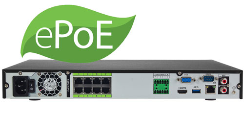 Wbudowany switch ePoE w rejestratorze NVR.