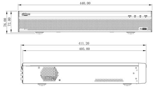 Wymiary rejestratora sieciowego (mm).
