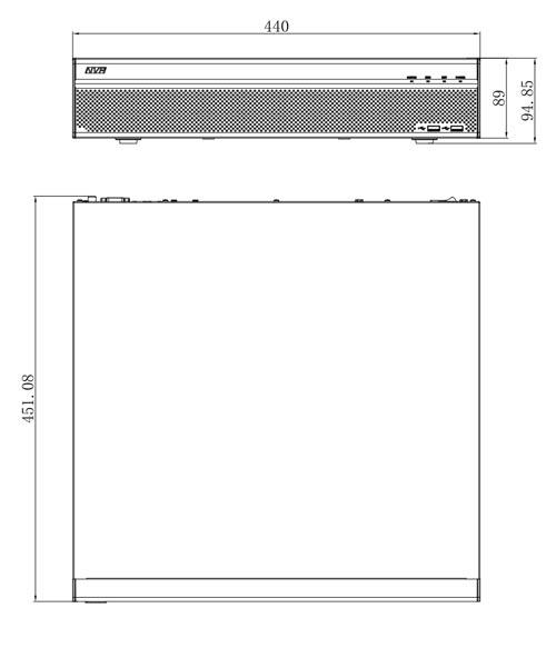 DHI-HCVR5832S-S2 - Wymiary rejestratora Dahua (mm).